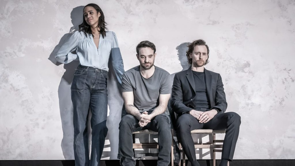 Zawe Ashton, Charlie Cox, and Tom Hiddleston  in Pinter's Betrayal. Photo Marc Brenner.