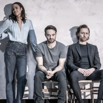 Zawe Ashton, Tom Hiddleston, and Charlie Cox in Pinter's Betrayal. Photo Marc Brenner.