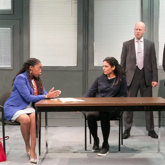 """From left to right: Mary E. Hodges, Soraya Broukhim , Greg Brostrom, and William Ragsdale in a scene from Voyage Theater Company's production of """"The Hope Hypothesis,"""" by Cat Miller at the Sheen Center for Thought & Culture. Photo Beowulf Sheenan."""