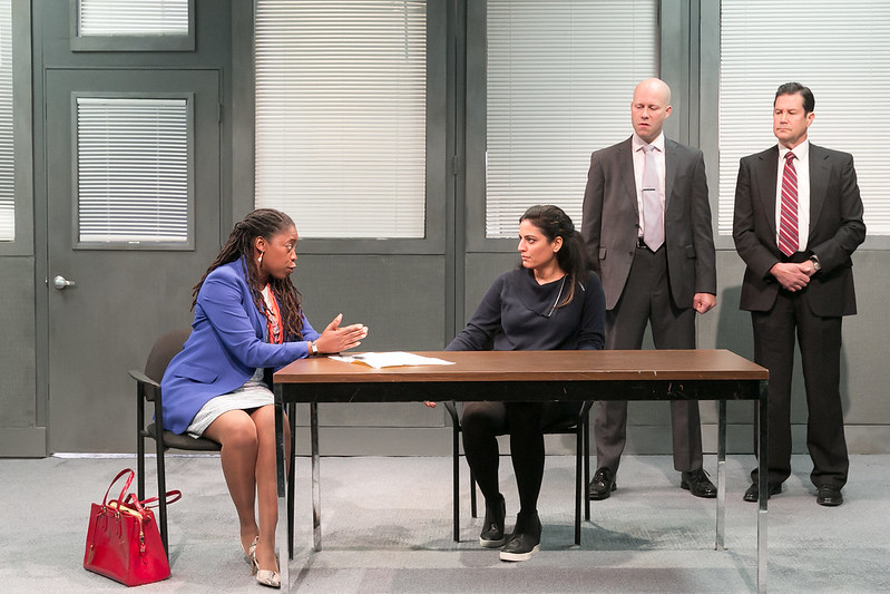 "From left to right: Mary E. Hodges, Soraya Broukhim , Greg Brostrom, and William Ragsdale in a scene from Voyage Theater Company's production of ""The Hope Hypothesis,"" by Cat Miller at the Sheen Center for Thought & Culture. Photo Beowulf Sheenan."