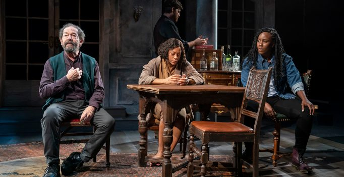 Jonathan Hadary, Nikki M. James, Michael Esper, and Crystal Lucas-Perry in A Bright Room Called Day, written by Tony Kushner and directed by Oskar Eustis, running at The Public Theater. Photo Joan Marcus.