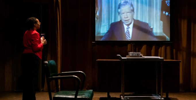 A Scene from CONFIDENCE and (The Speech), April Armstrong, Photo Russ Rowland.