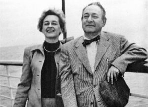 Luzi and Erich Korngold en route to Europe, 1954, two years after the completion of the Symphony in F#.