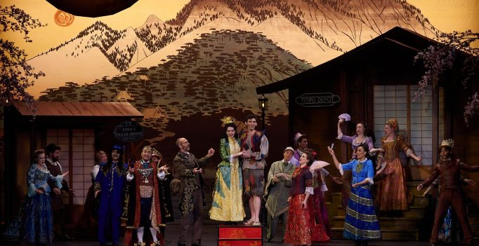 Sarah Caldwell Smith, John Charles McLaughlin and Ensemble in NYGASP's Production of The Mikado. Photo William Reynolds.