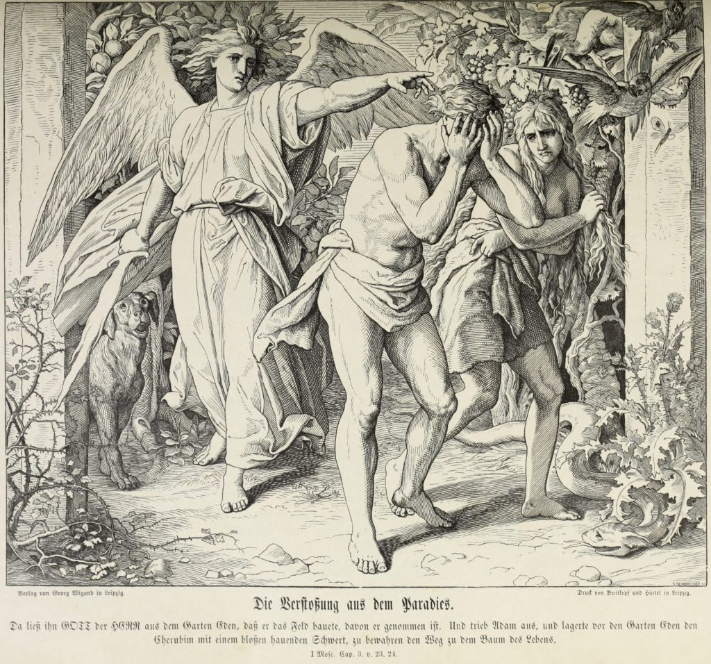 NOT seen in the Fellowship's Paradise Lost: The Expulsion from Eden, by Julius Schnorr von Carolsfeld, from Die Bibel in Bildern, woodcut, 1852-60.
