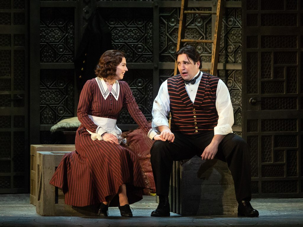 "Hanna-Elisabeth Müller as Susanna and Adam Plachetka as Figaro in Mozart's ""Le Nozze di Nozze."" Photo:Marty Sohl / Met Opera."