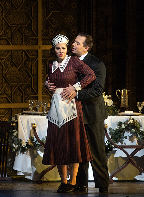 "Hanna-Elisabeth Müller as Susanna and Etienne Dupuis as the Count in Mozart's ""Le Nozze di Nozze."" Photo Marty Sohl / Met Opera."