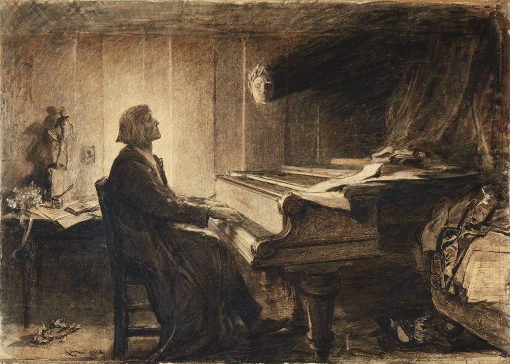Franz Liszt at the Piano, black chalk and ink on paper, ca. 1904, Sir Hubert von Herkomer.