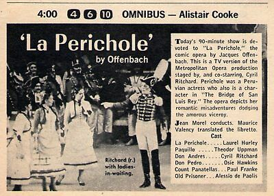 Advertisement for Television Broadcast of Metropolitan Opera's Production of Offenbach's La Périchole.