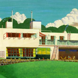 Pen Pits (1936), painting by Edward Alexander Wadsworth (1889 – 1949), now in a private collection; photograph kindly supplied by Sotheby's. The house, at Pen Selwood, Somerset, a classic piece of 1930s design inspired by the Bauhaus style, was built in 1935 for Arthur Bliss and his wife by Peter Harland (1900 – 1973).